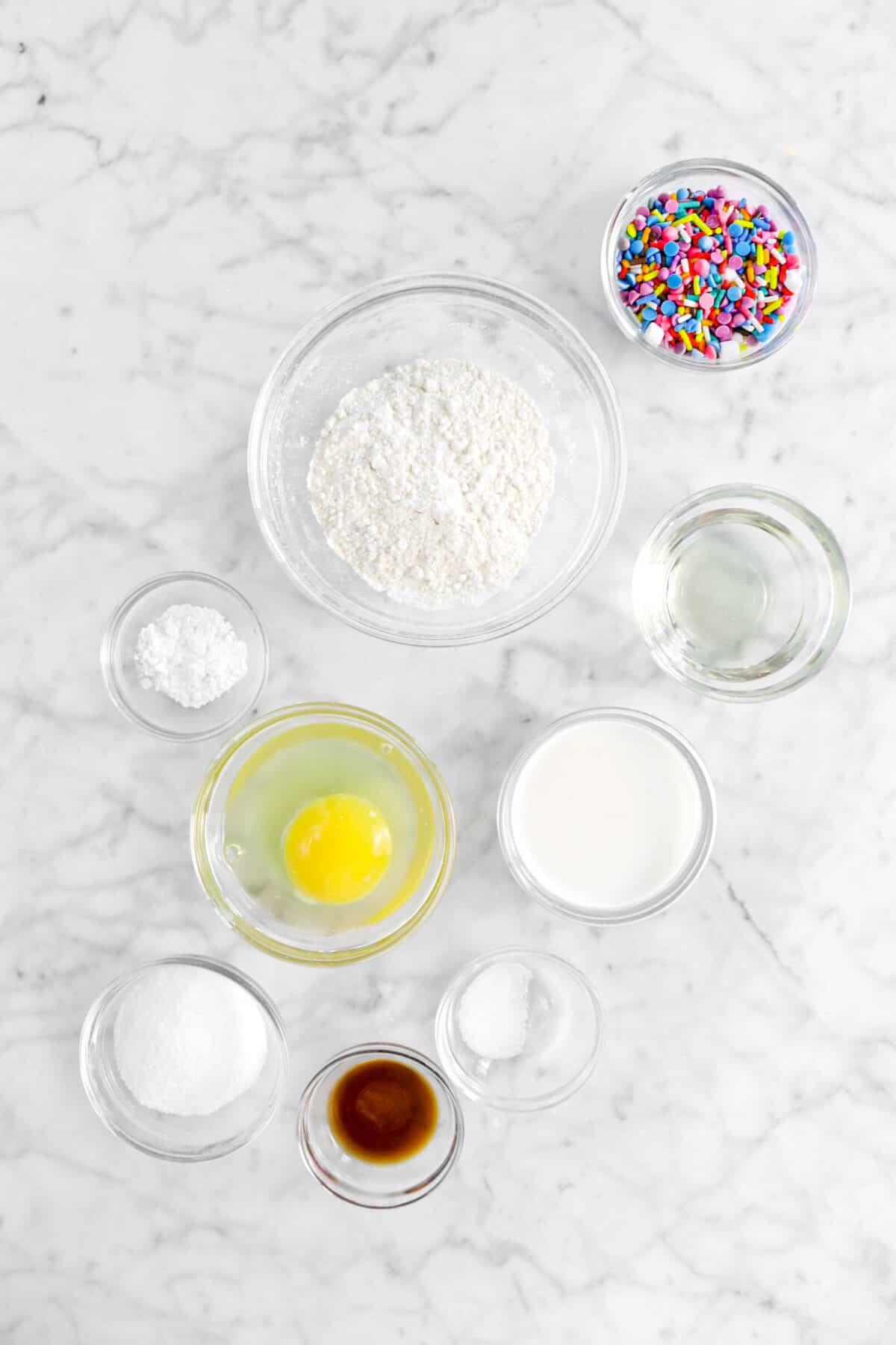 sprinkles, flour, vegetable oil, baking soda, milk, egg, salt, vanilla, and sugar