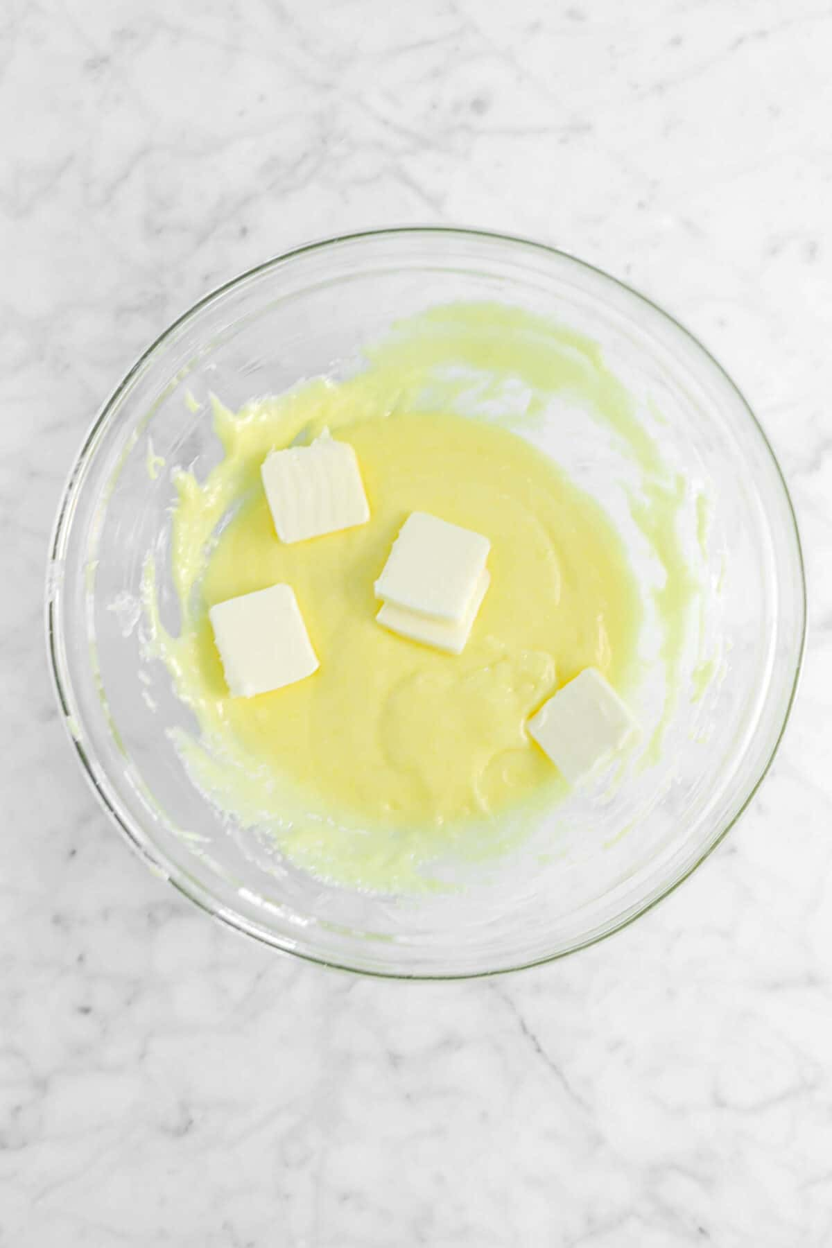 butter slices added on top of custard