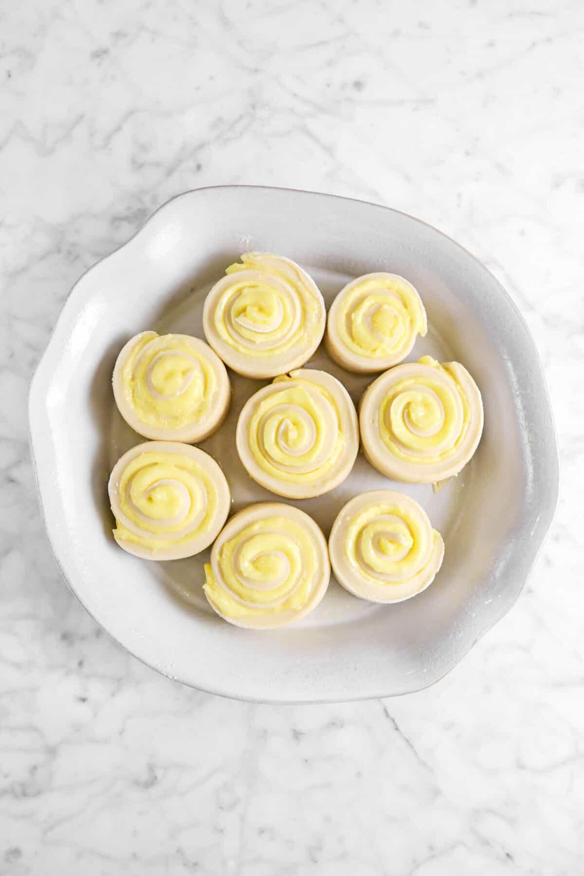 overhead shot of lemon rolls in pie pan