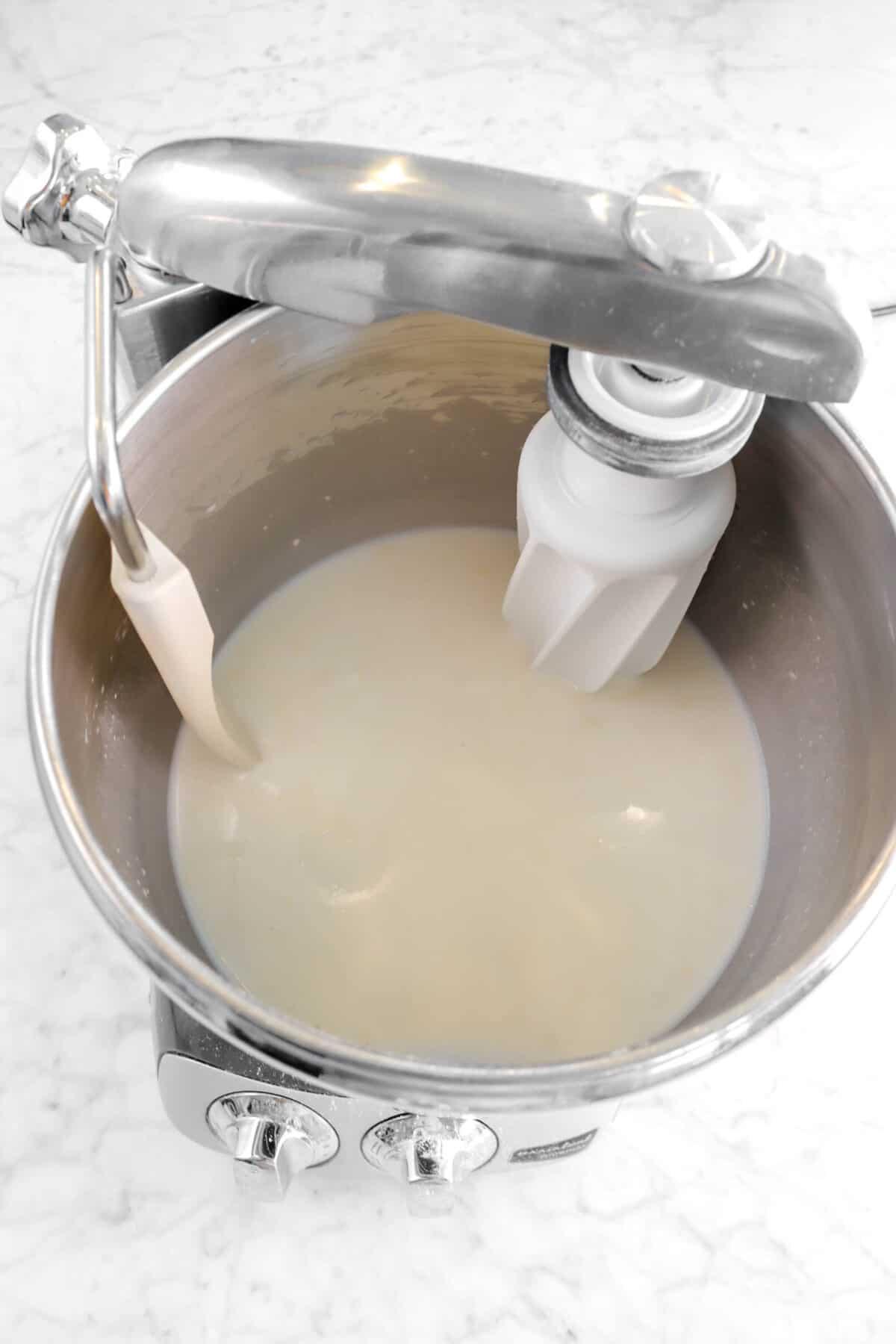 sourdough mixed into milk mixture