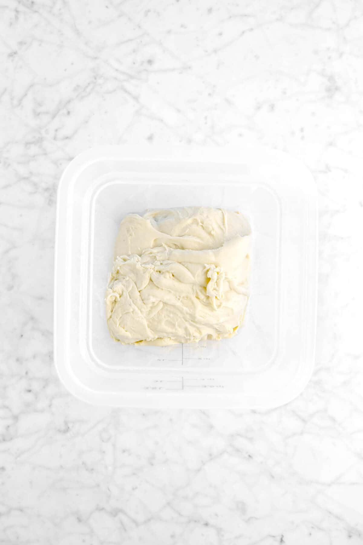dough in plastic container