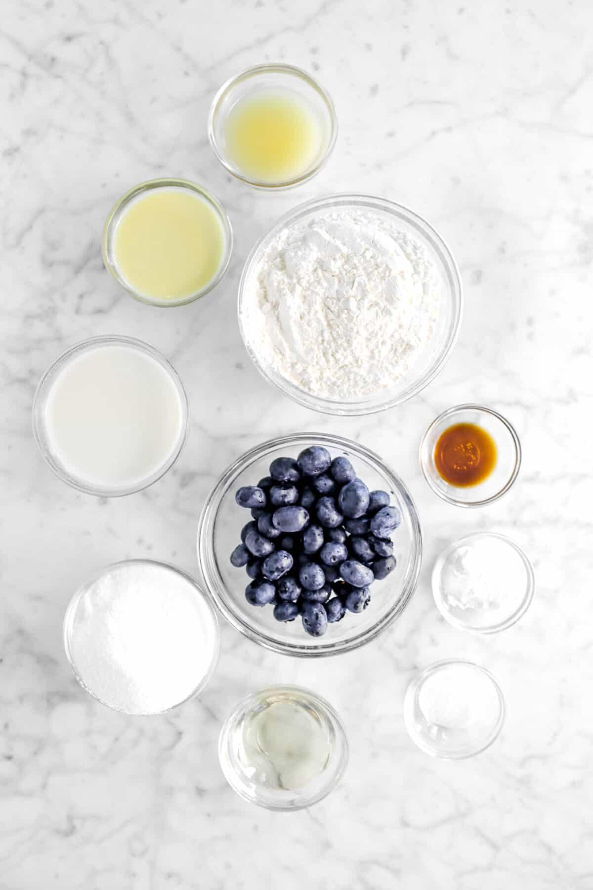 melted butter, egg, milk, sugar, vegetable oil, salt, baking powder, vanilla, blueberries, and flour in glass bowls