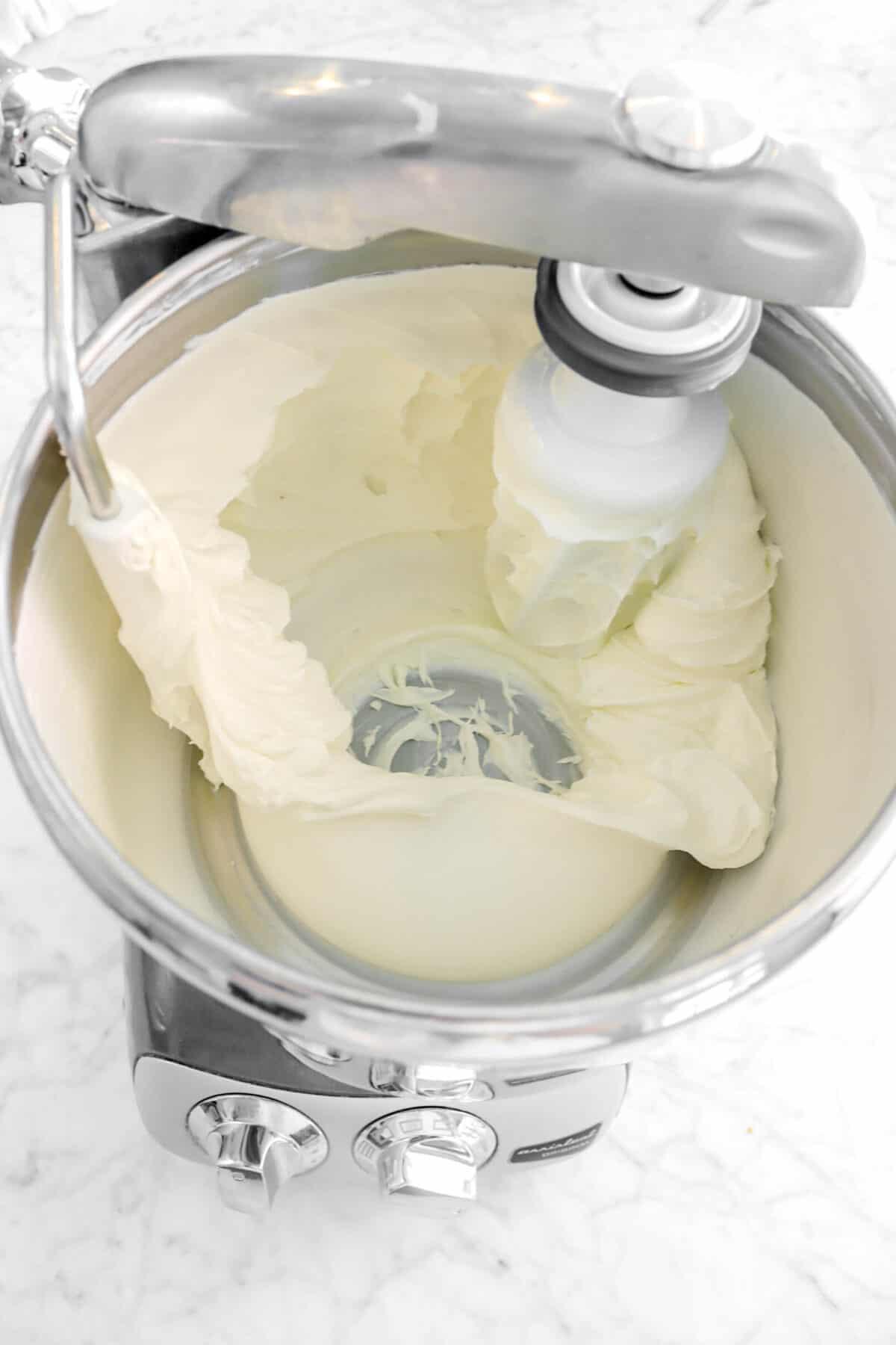 sugar stirred into cream cheese