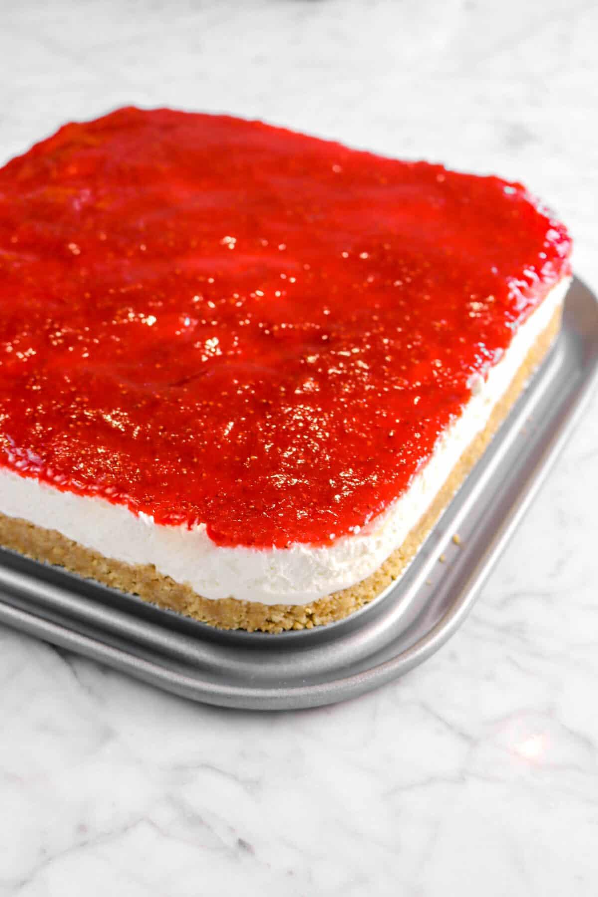 cheesecake set on pan