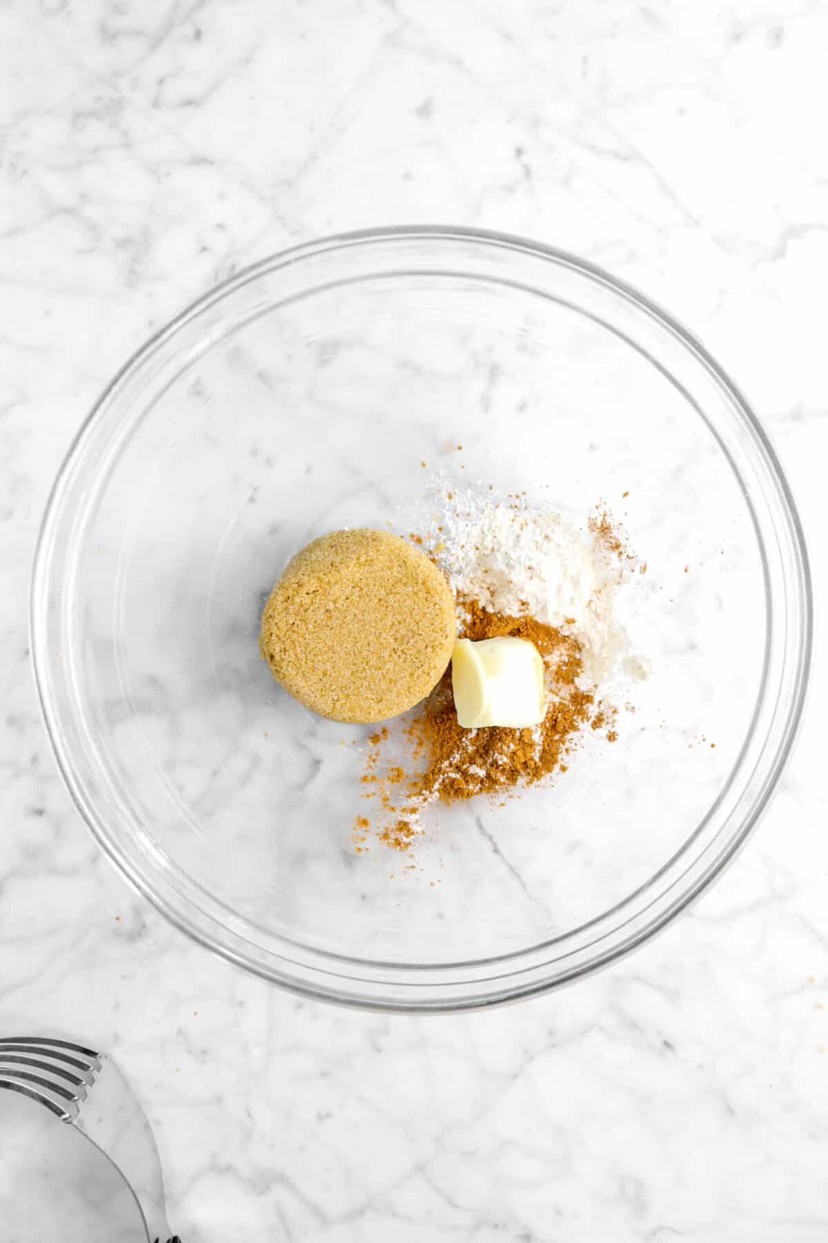 brown sugar, flour, butter, and cinnamon in a large glass bowl