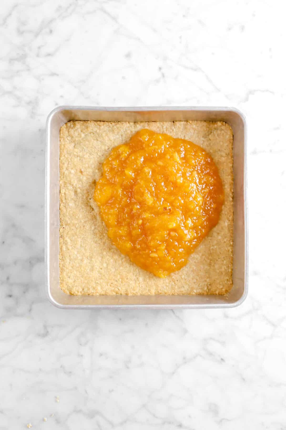 peach jam on crumble base