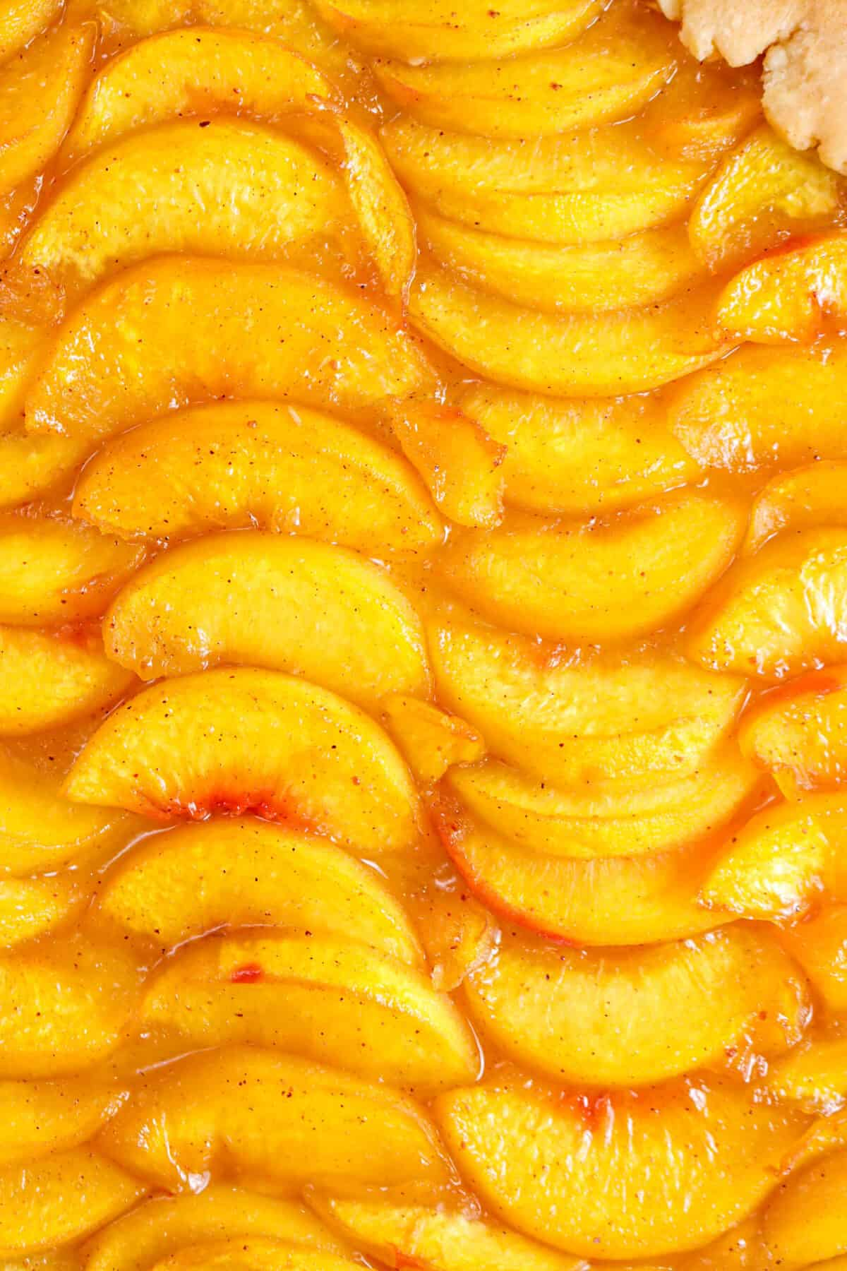 close up of sliced and baked peach slices
