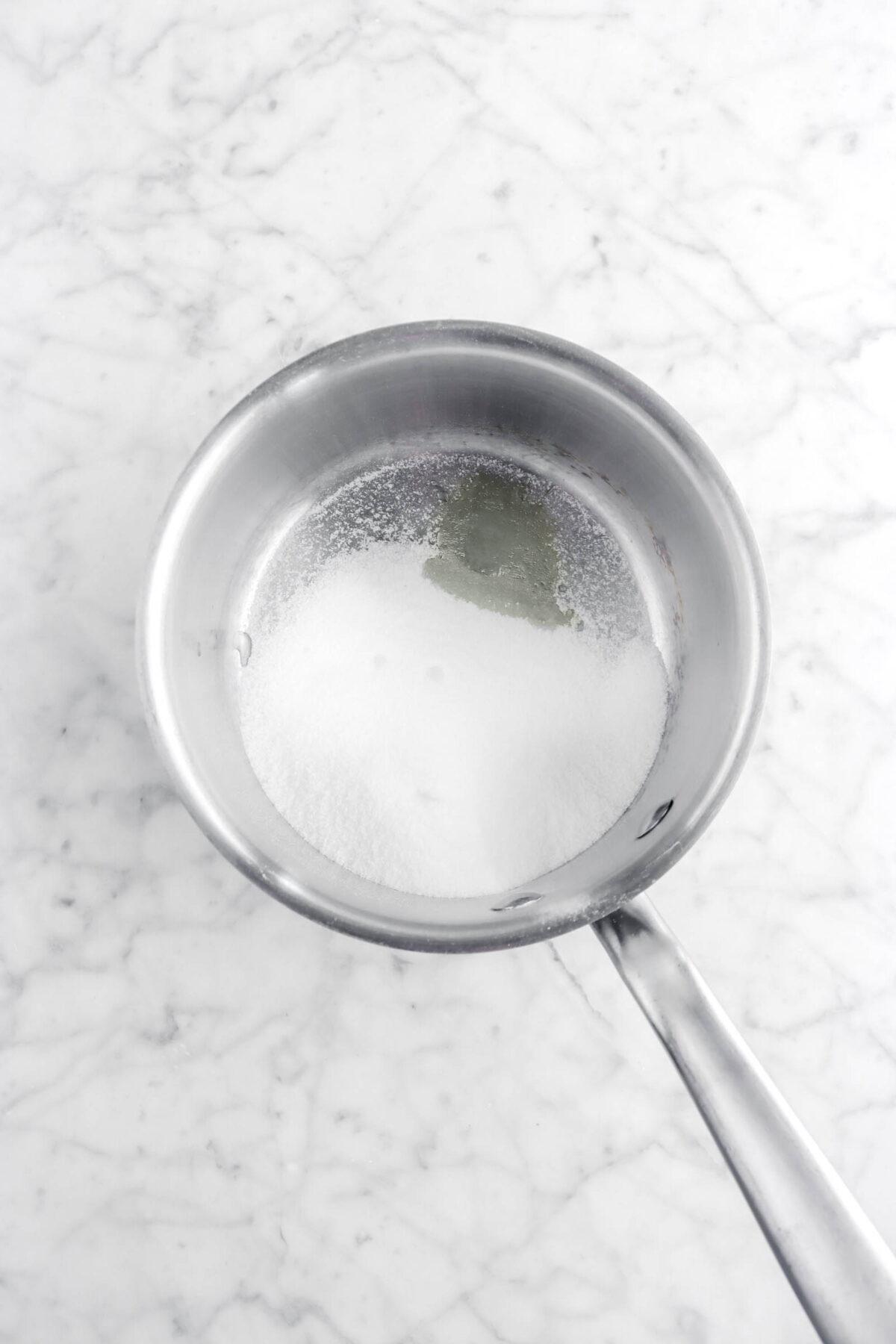 sugar and lemon juice in small pot