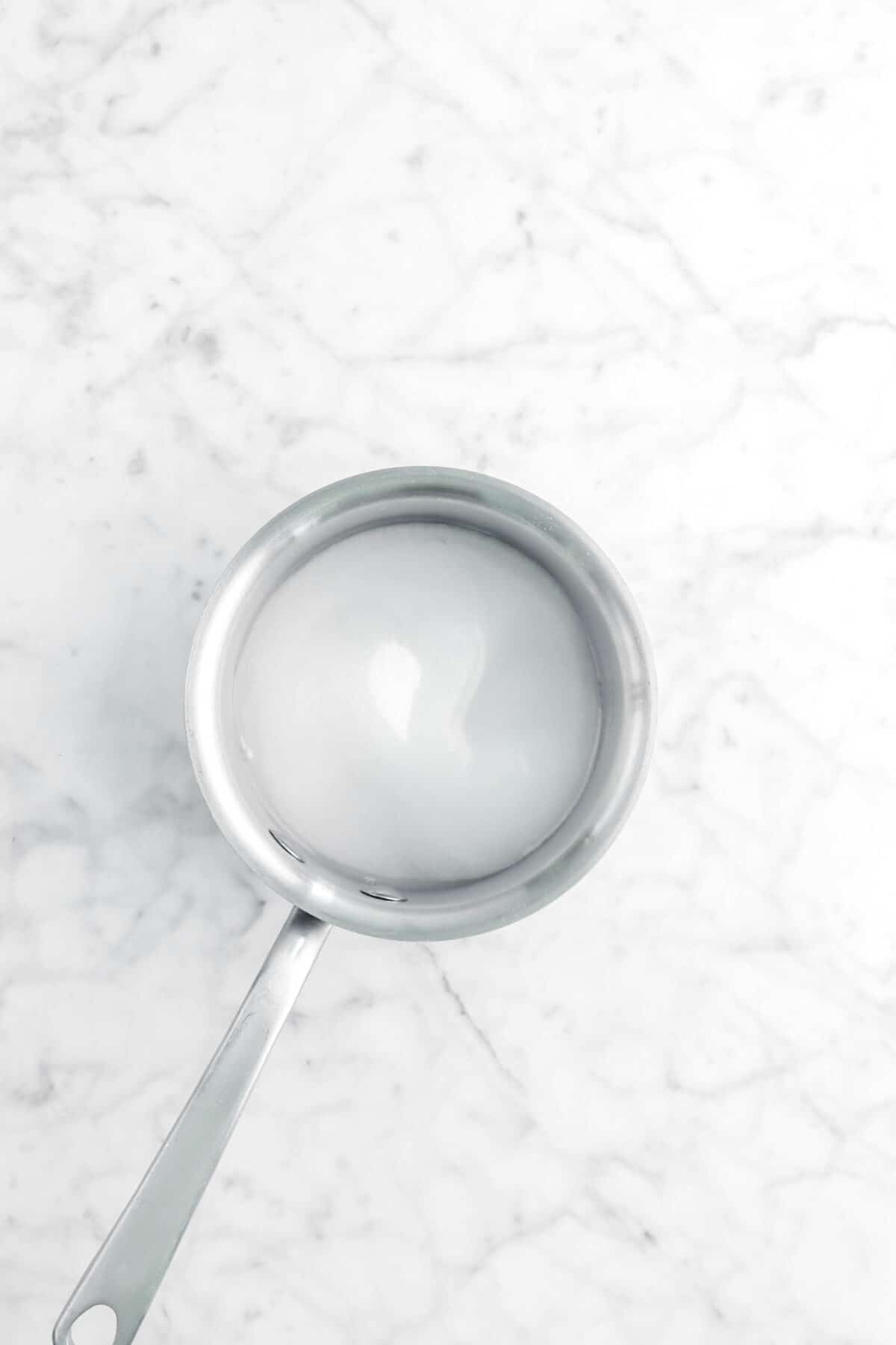 sugar and water in small pot