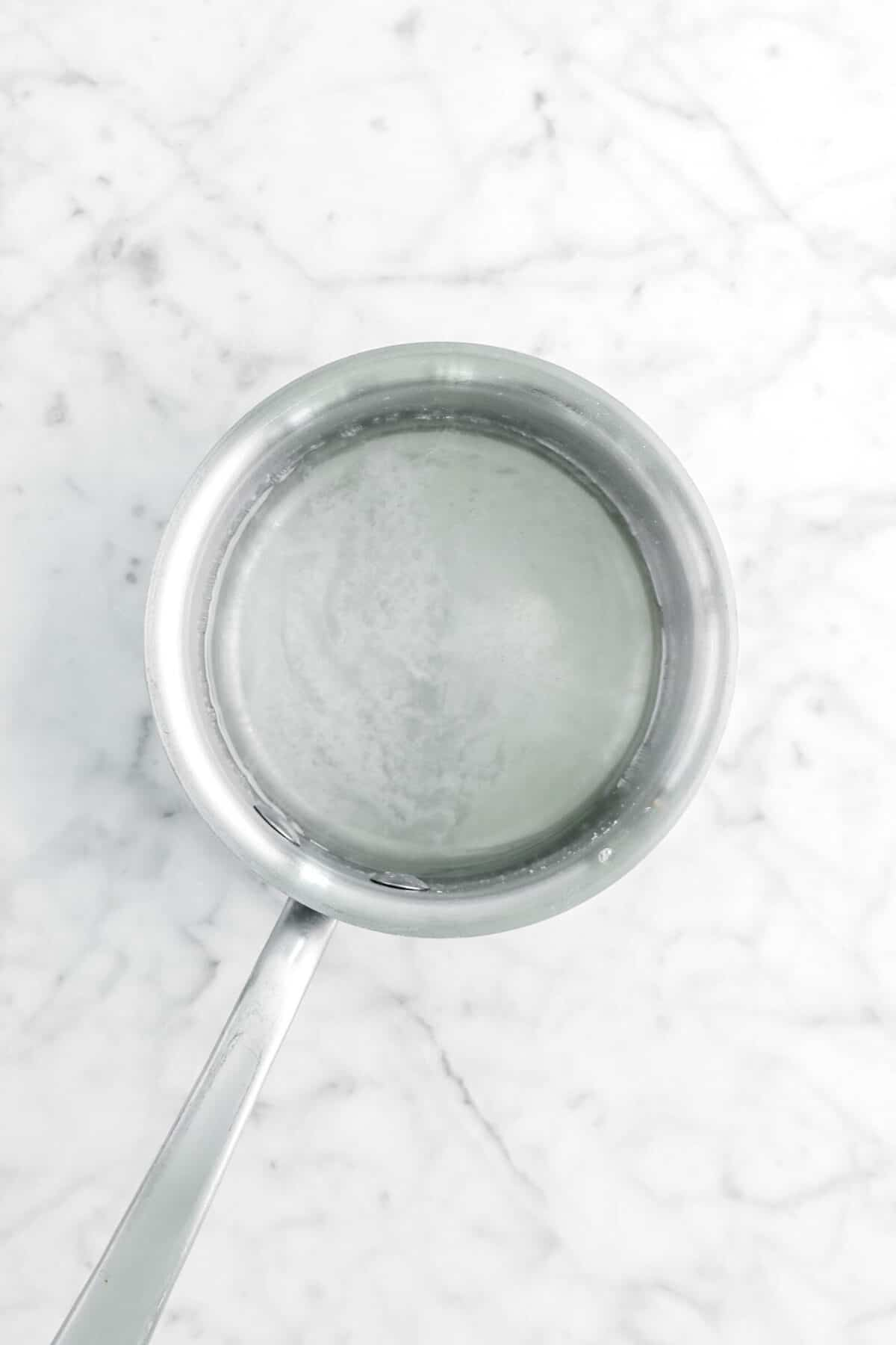 simple syrup in small pot