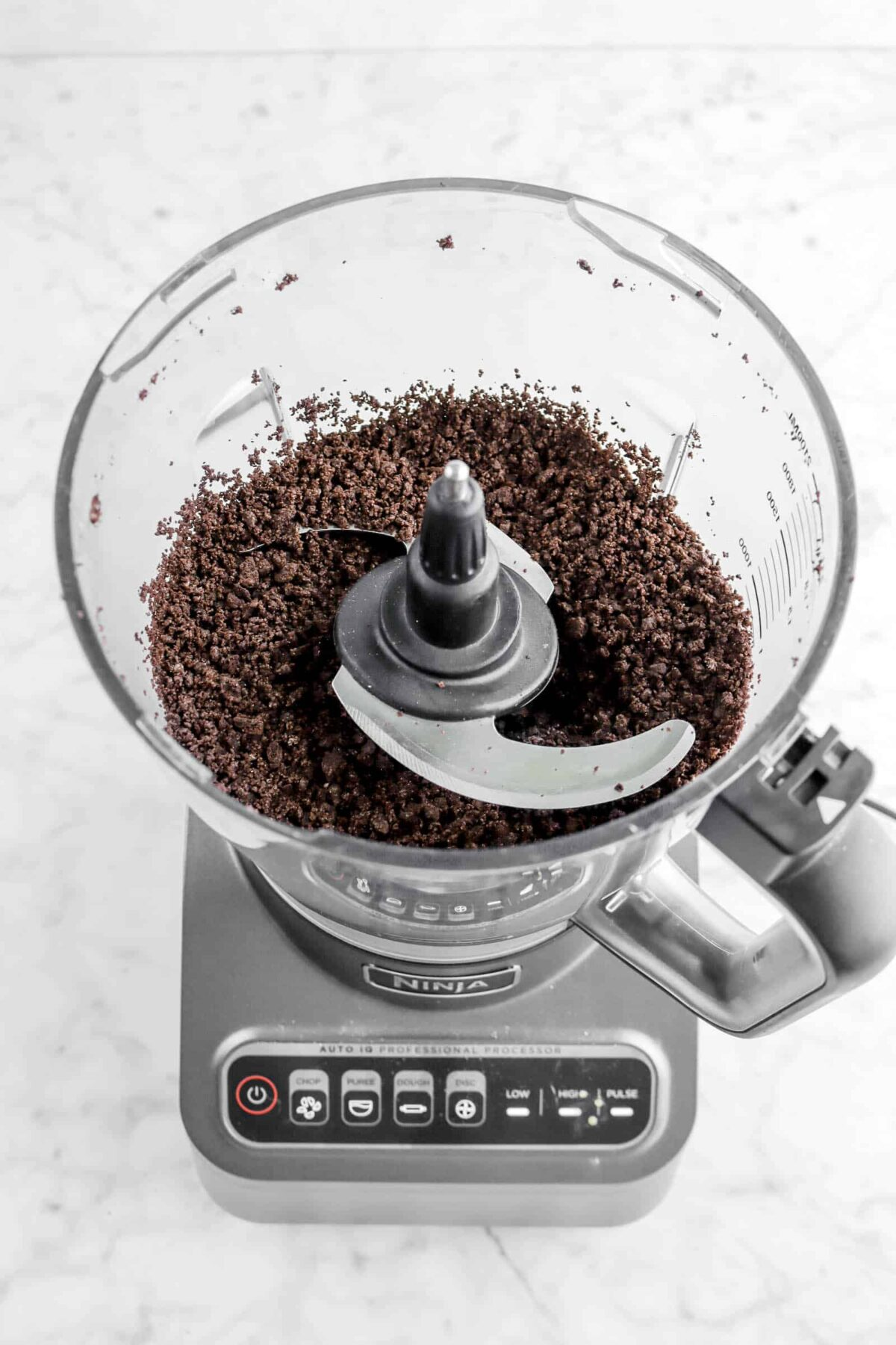 crushed oreos in a food processor