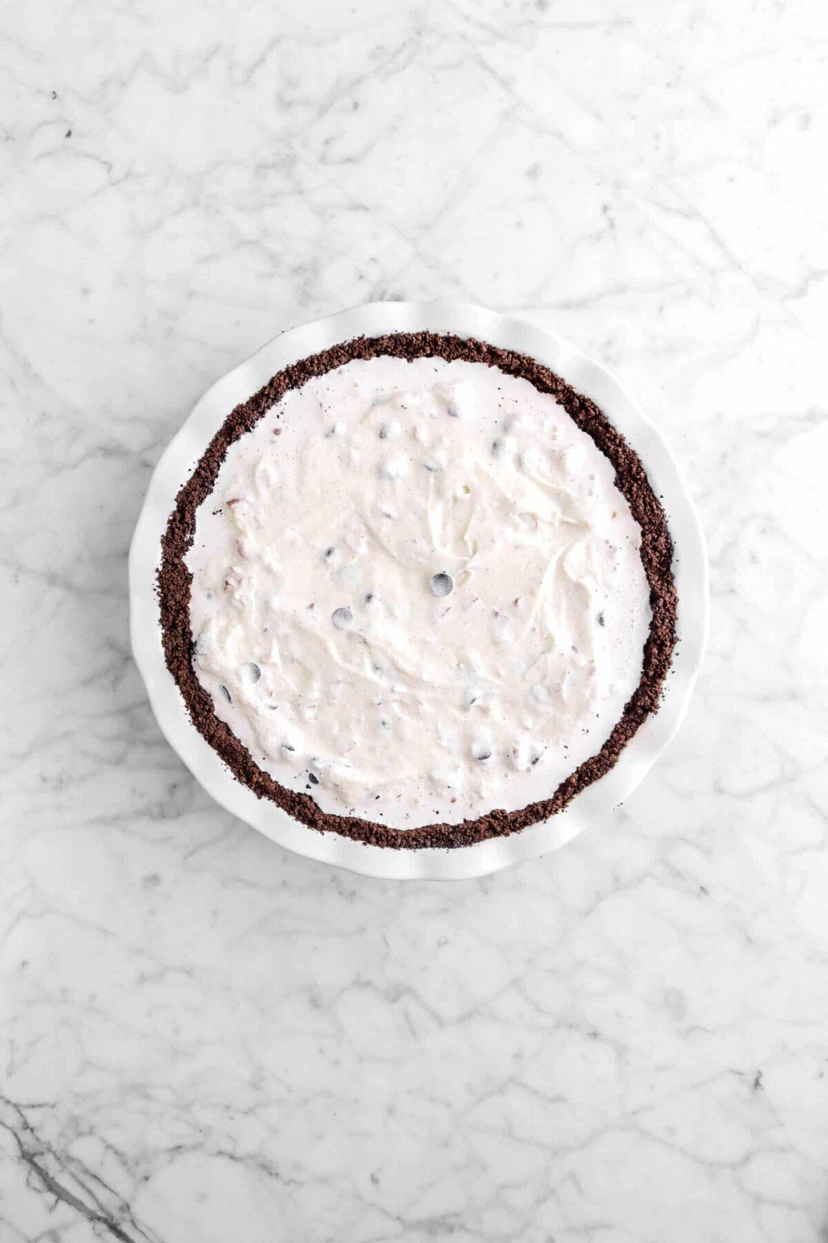 ice cream pie in white pie plate