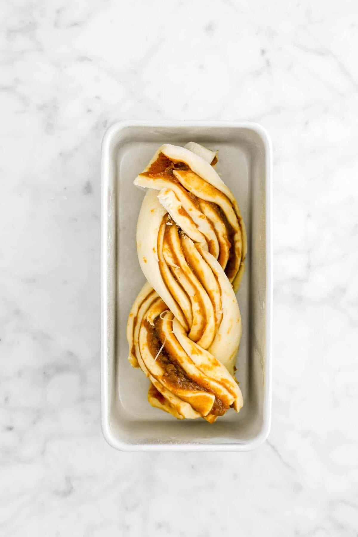 babka in rectangle loaf pan