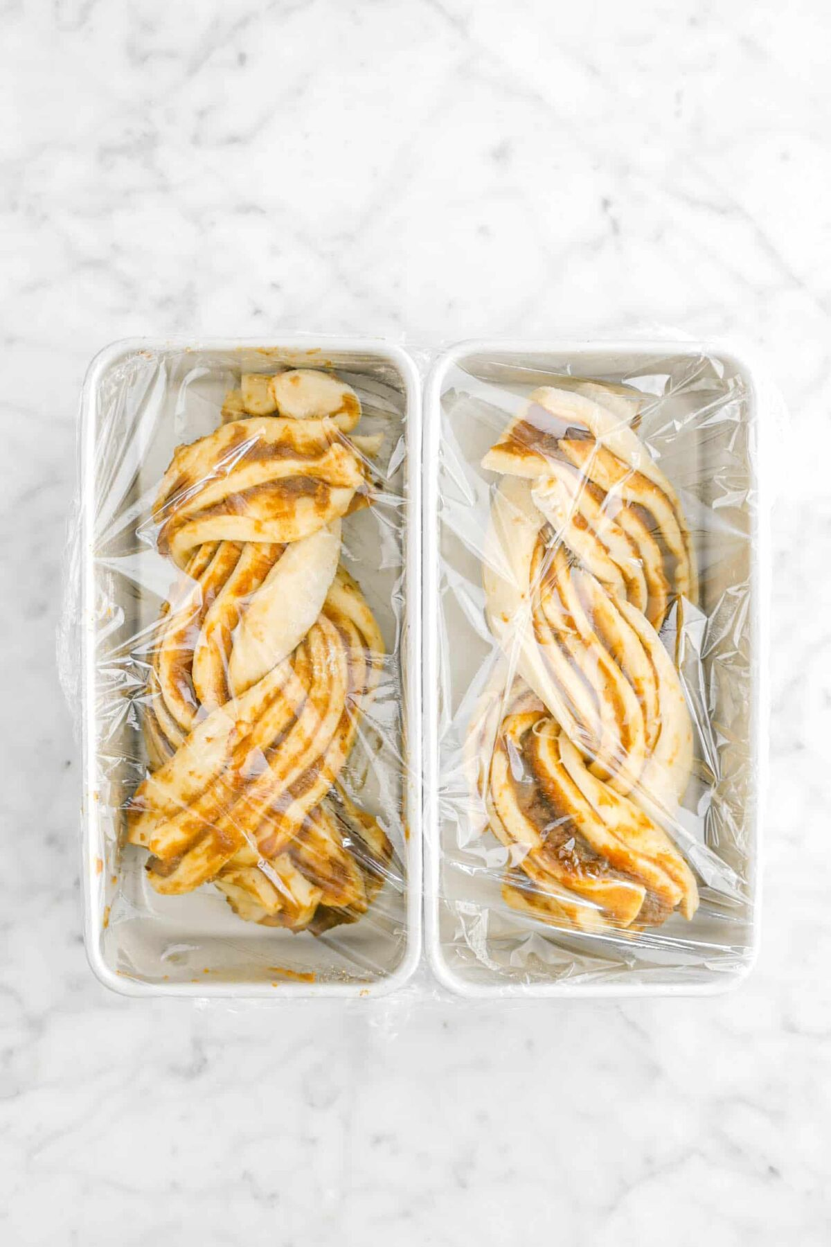 two pans of babka covered with plastic wrap