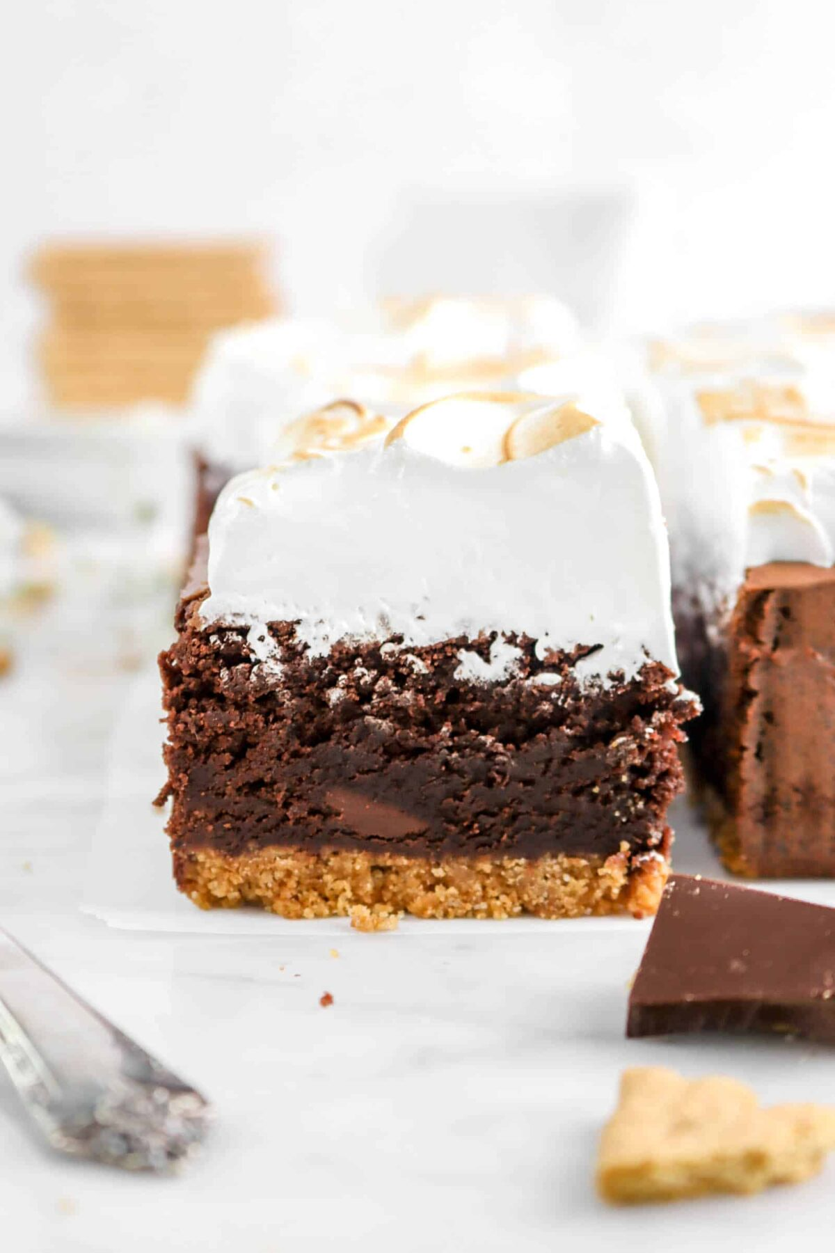 close up of one s'more brownie