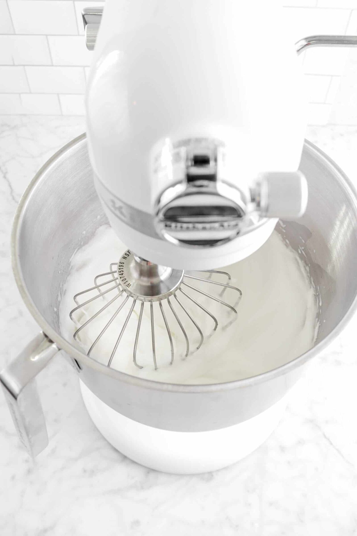 egg whites whipped in mixer
