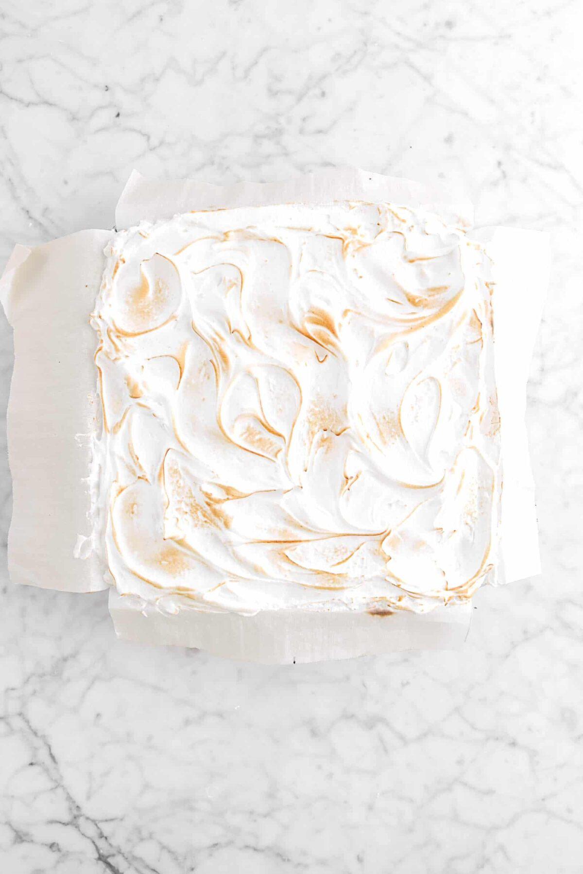 Meringue toasted on top of brownies