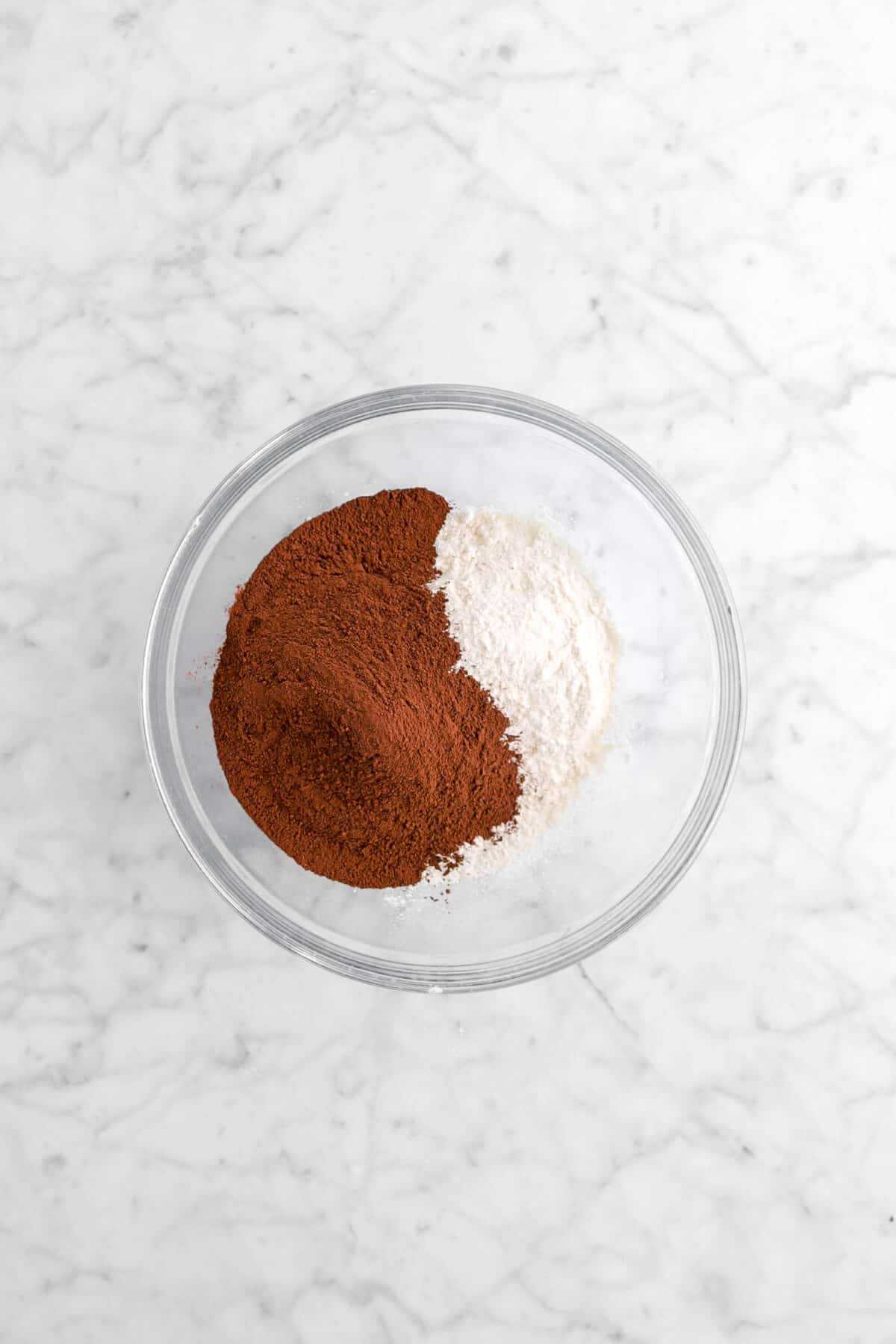 cocoa powder and flour in glass bowl