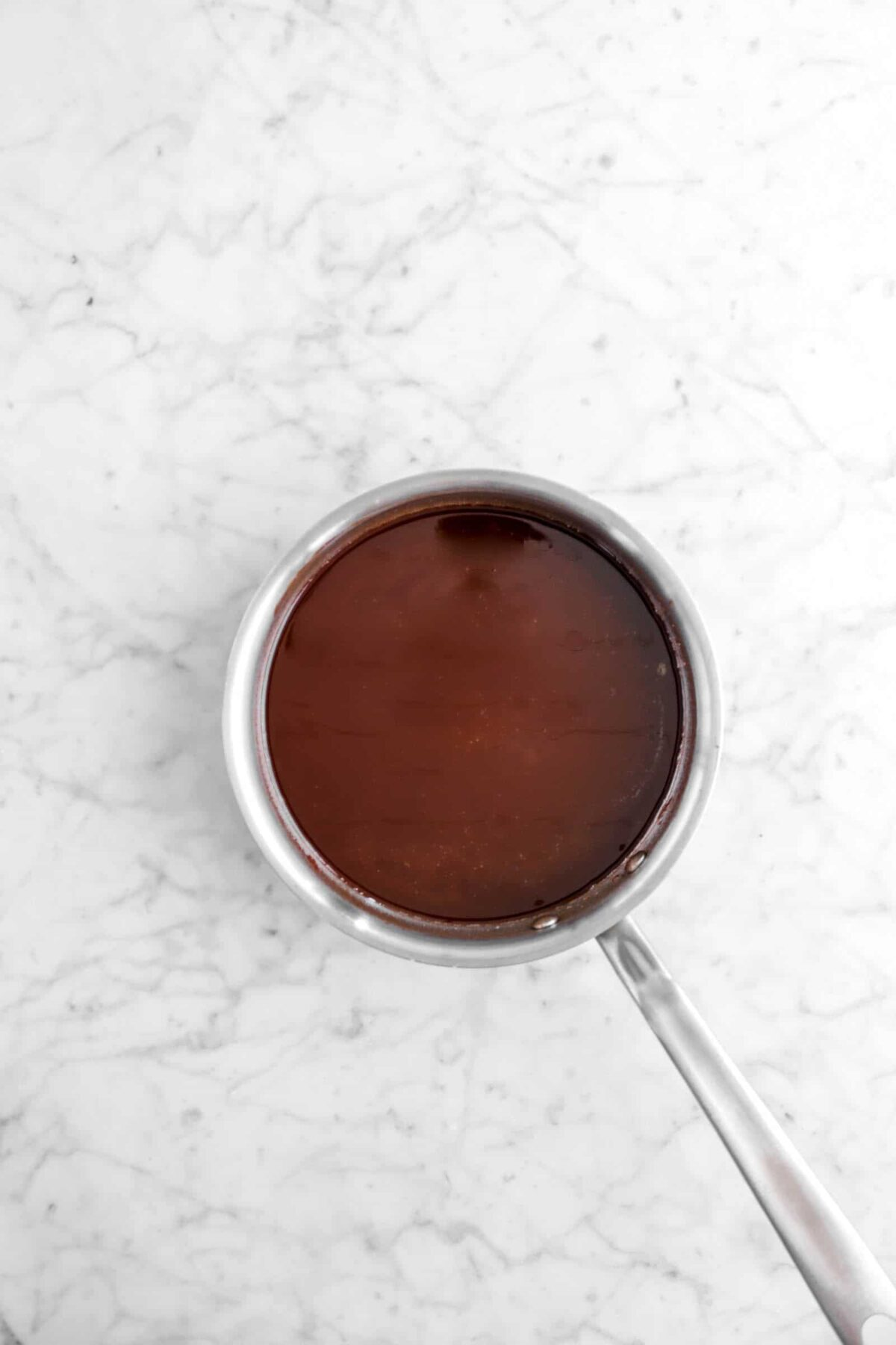 melted chocolate in a small pot