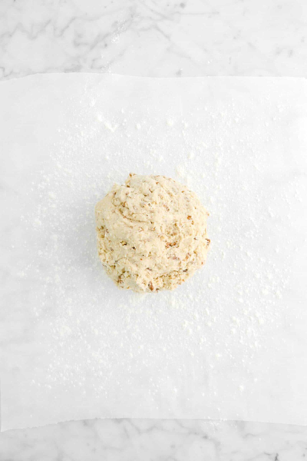 scone dough on floured parchment paper