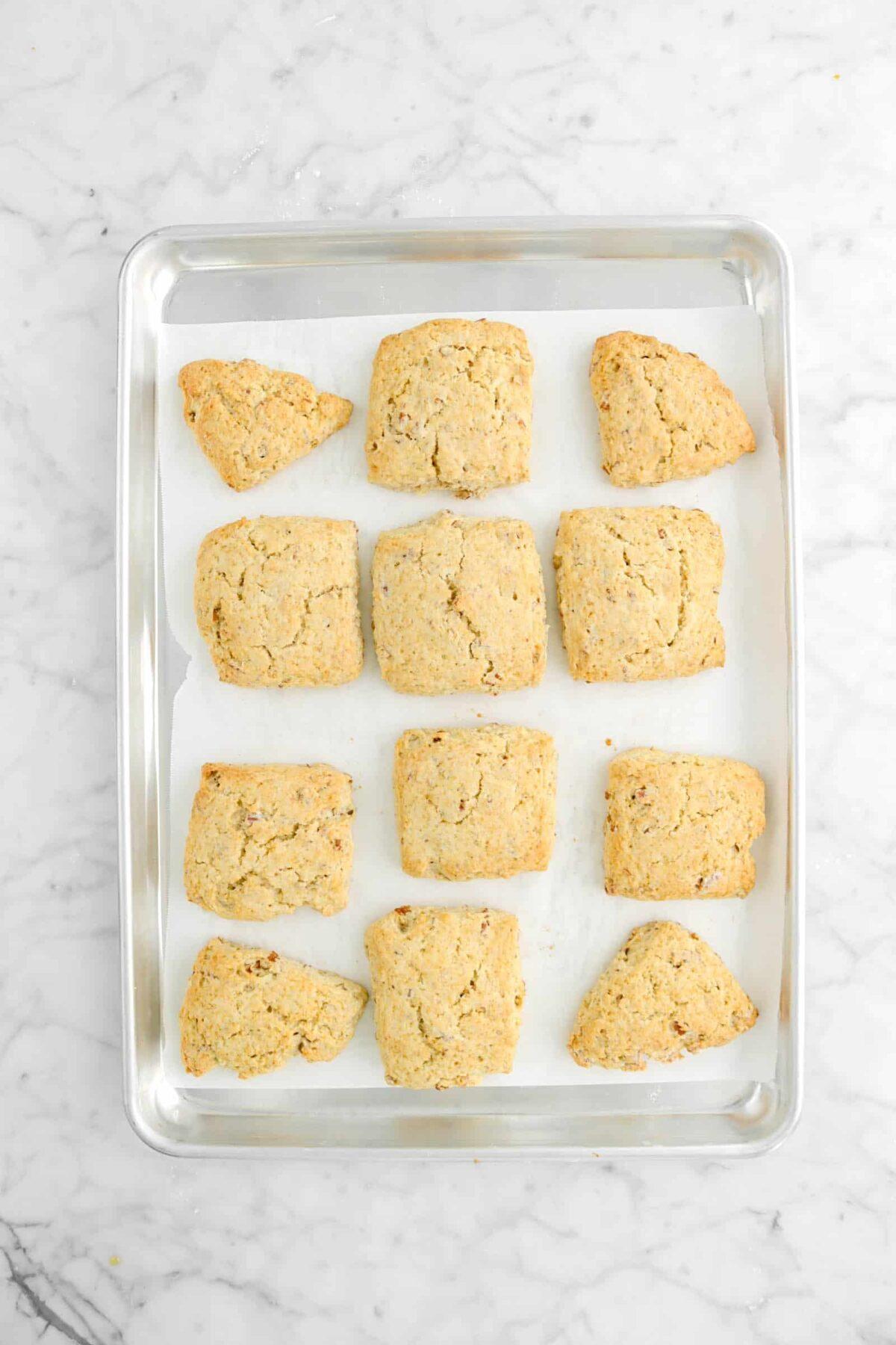 maple pecan scones baked on sheet pan