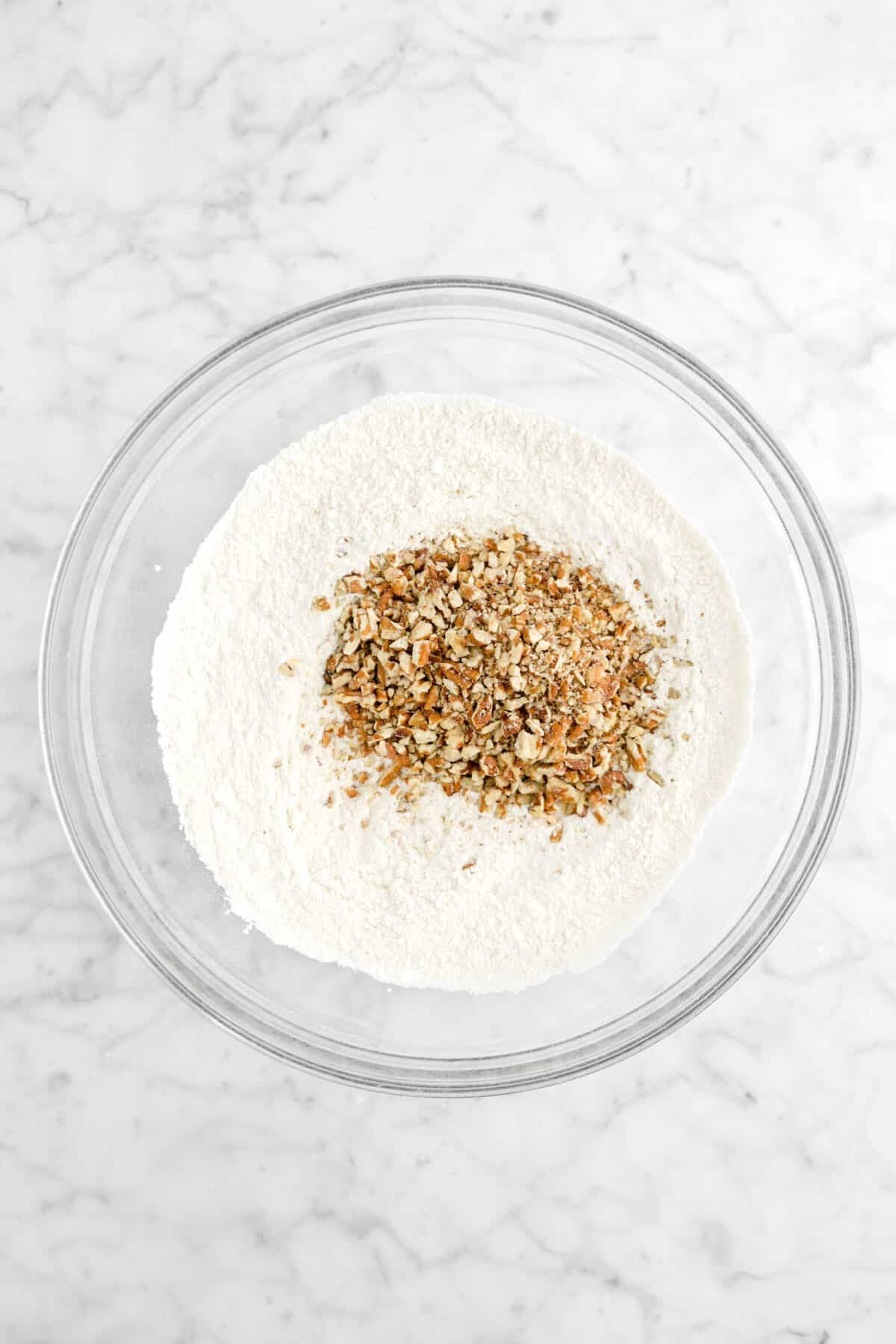 chopped pecans added to dry ingredients