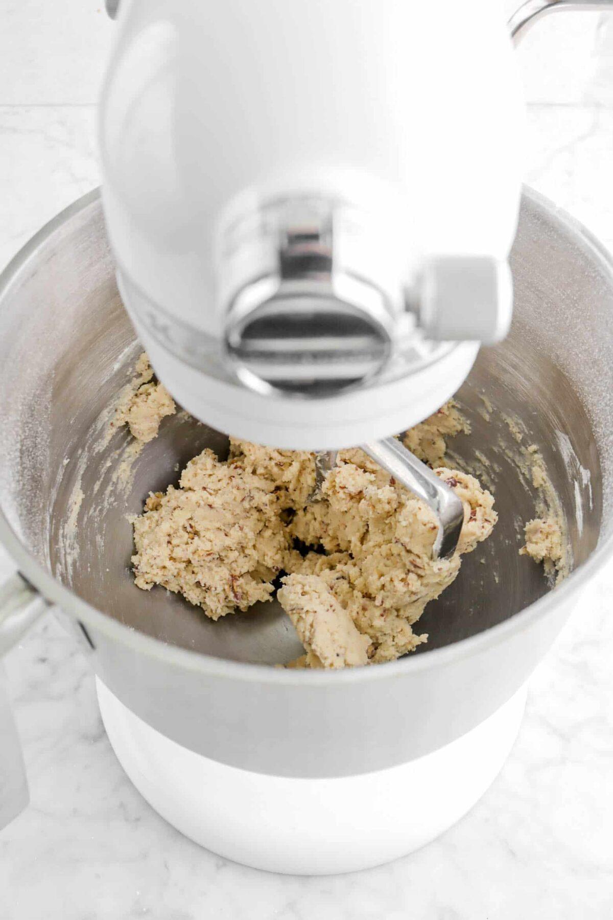 cookie dough in mixer
