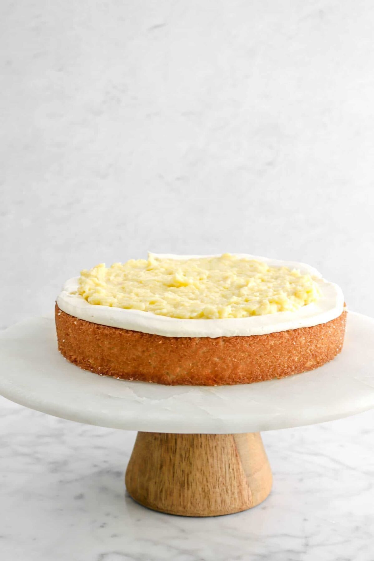 coconut pastry cream added in the middle of the cake layer
