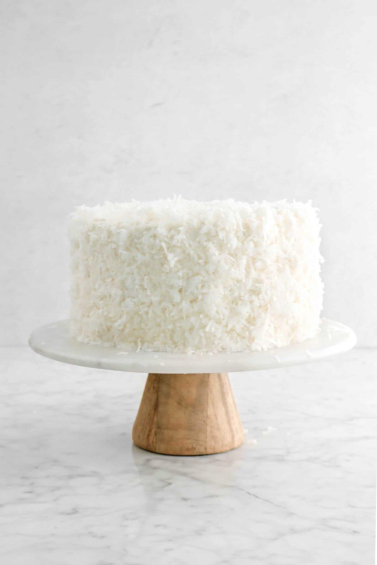 coconut cake on cake plate