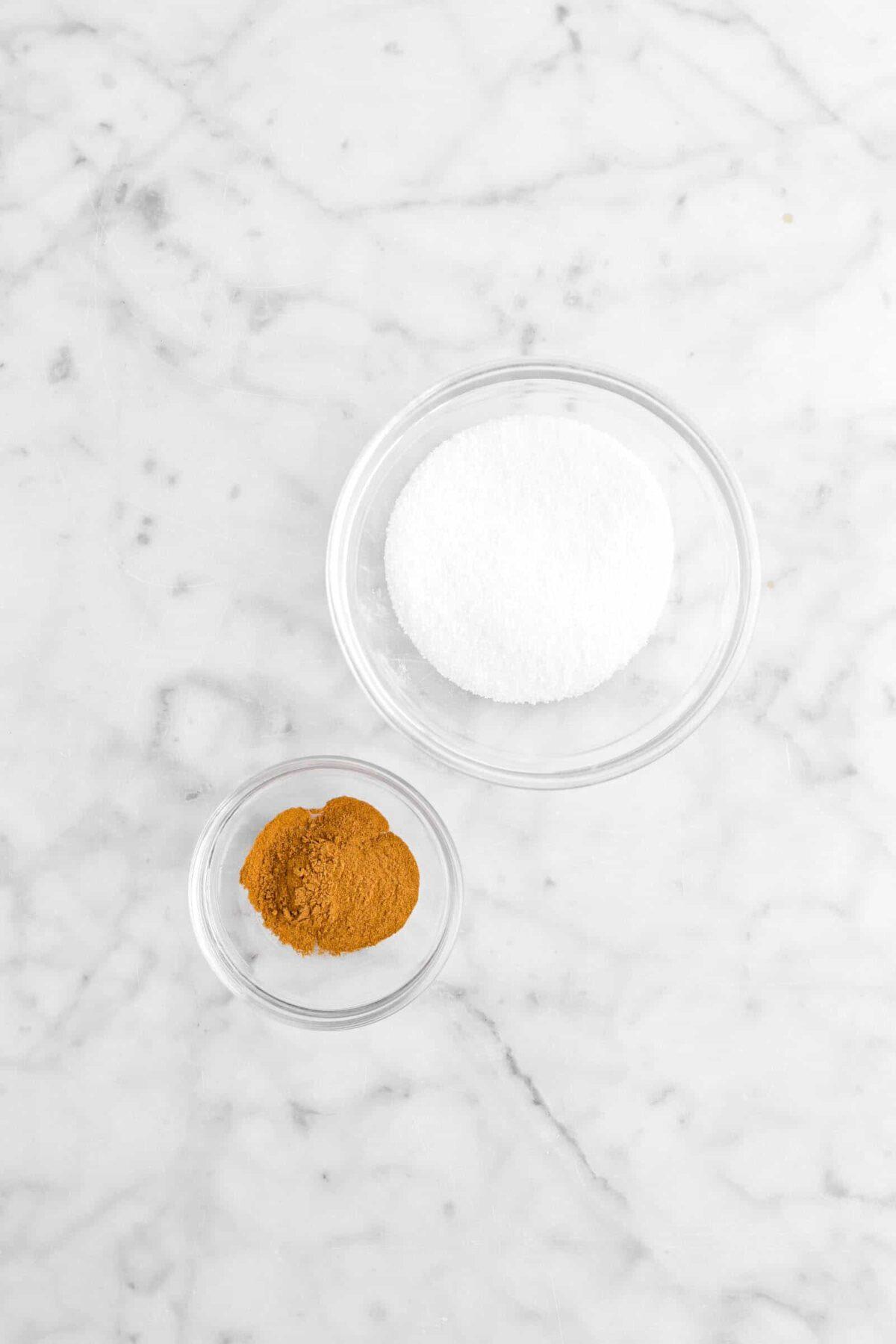 sugar and cinnamon in small bowls