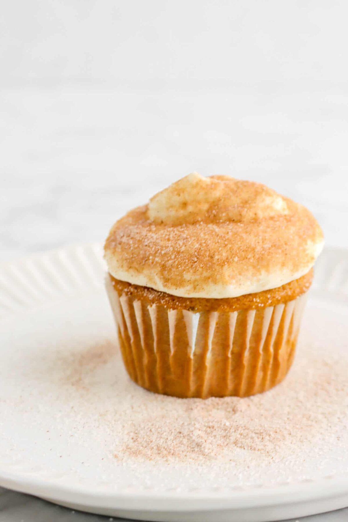cupcake with frosting and cinnamon sugar on top