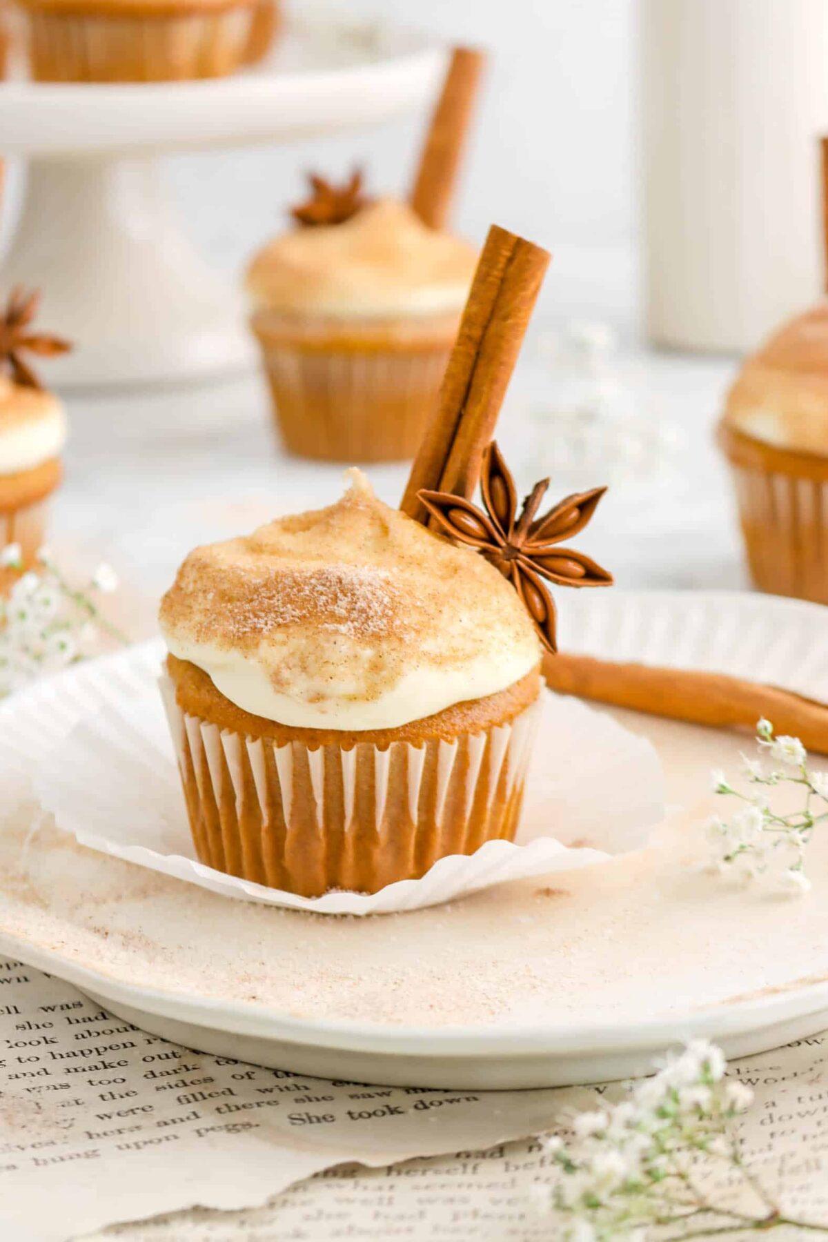 close up of gluten free pumpkin cupcake