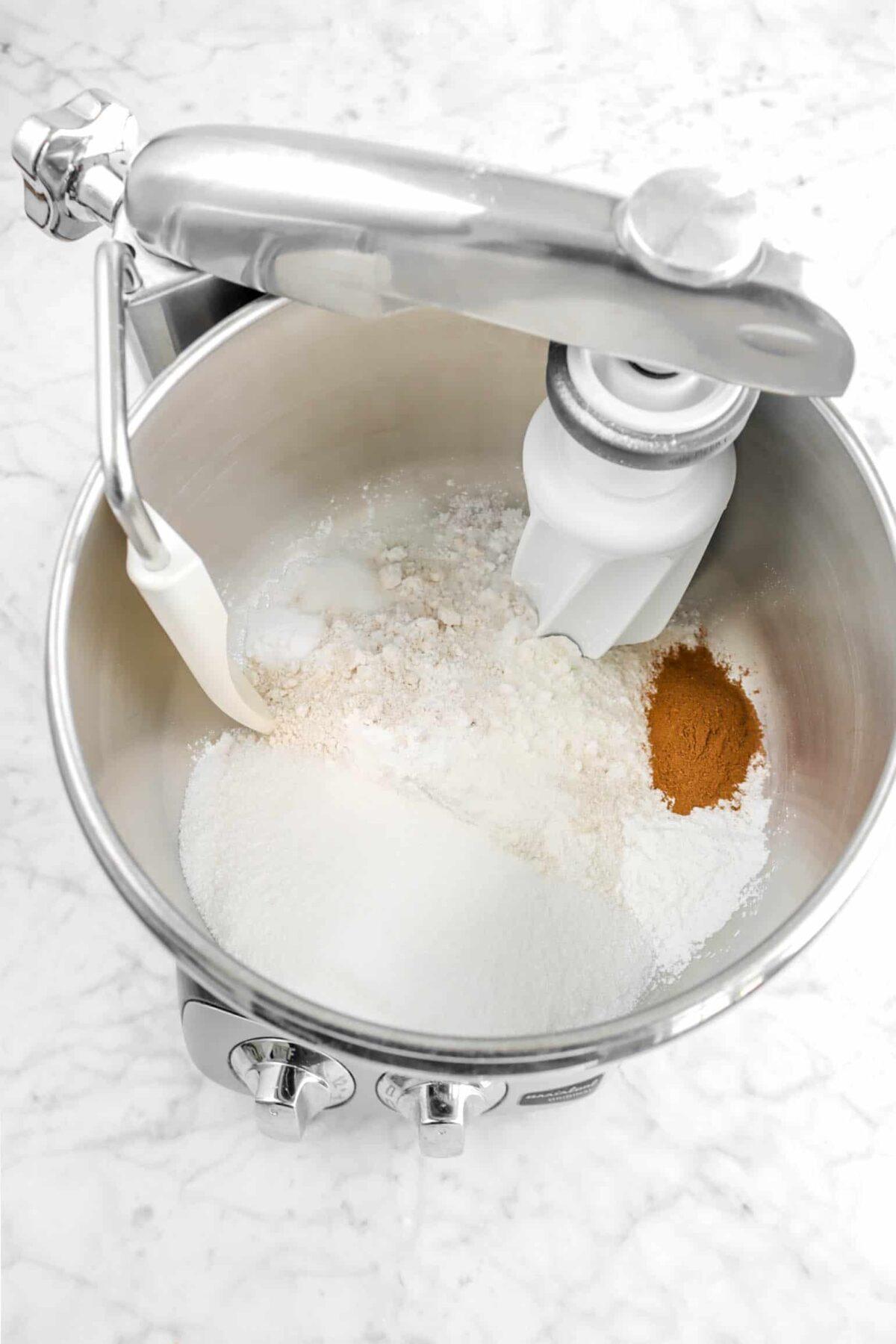 dry ingredients in mixer