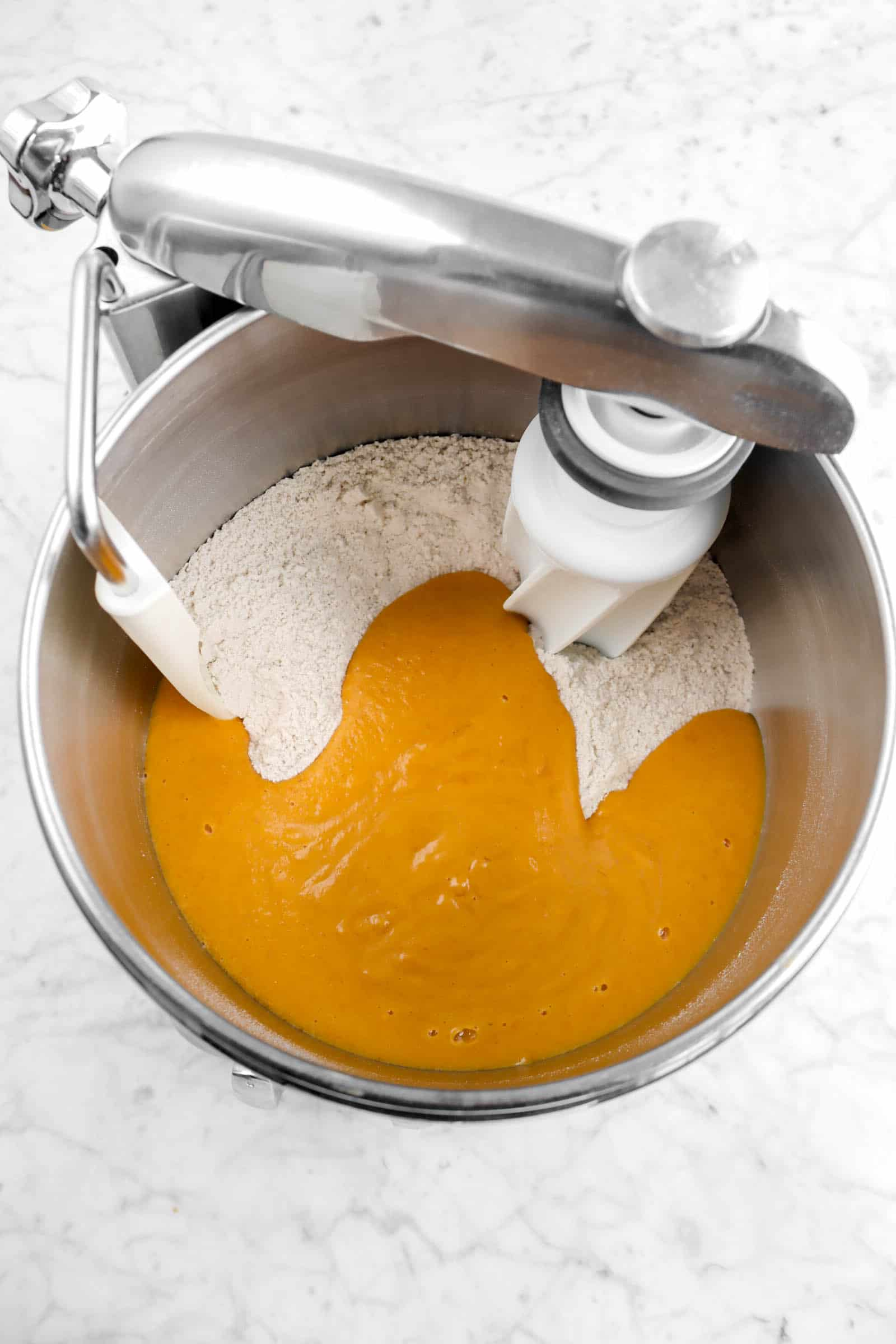 pumpkin mixture added to dry ingredients