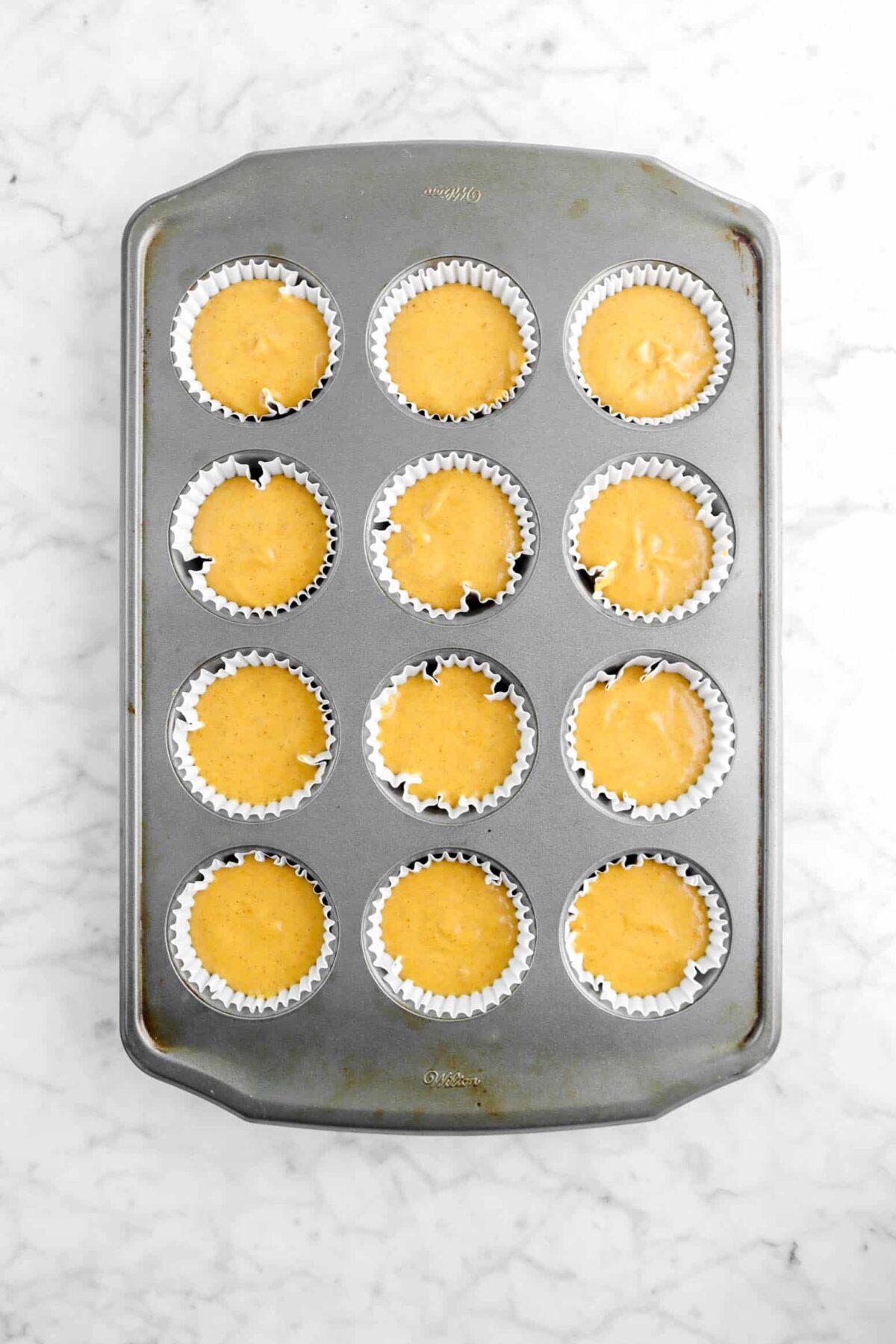 cupcake batter in muffin pan
