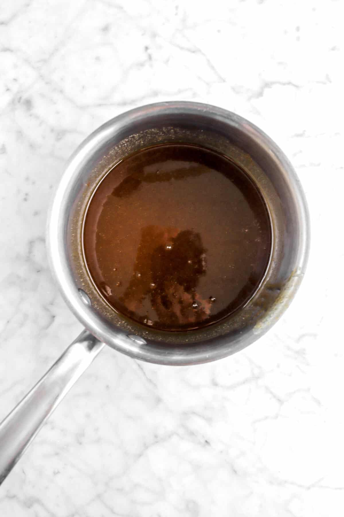 rum syrup syrup in a small pot