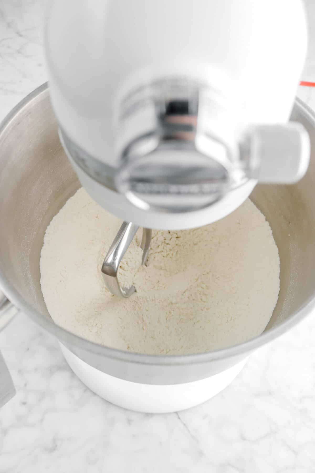 dry ingredients stirred in mixer