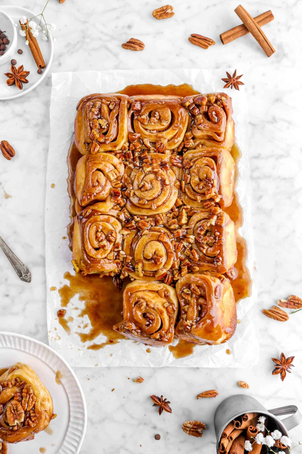 overhead shot of sticky buns with bottom left bun missing