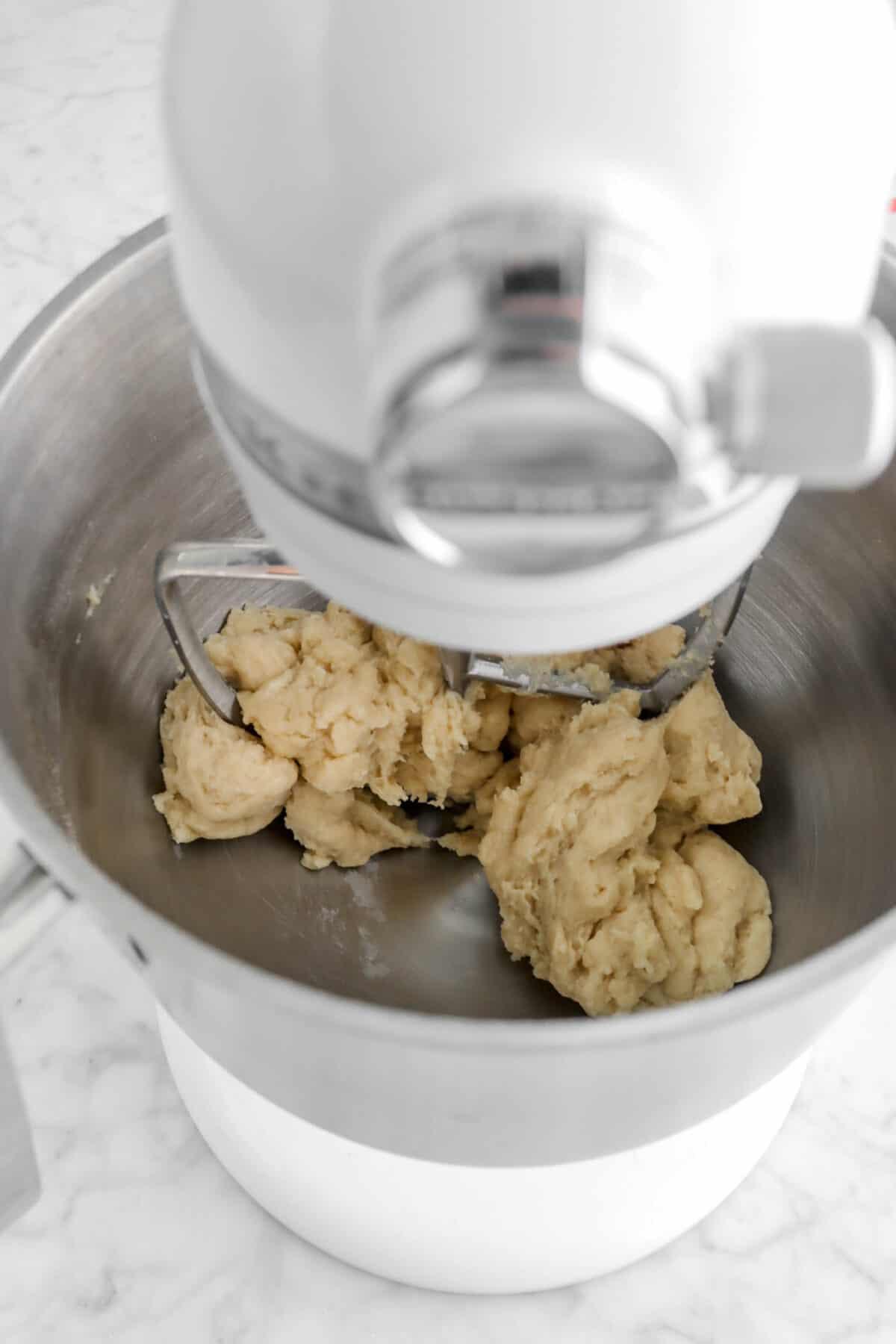 rough dough in mixer