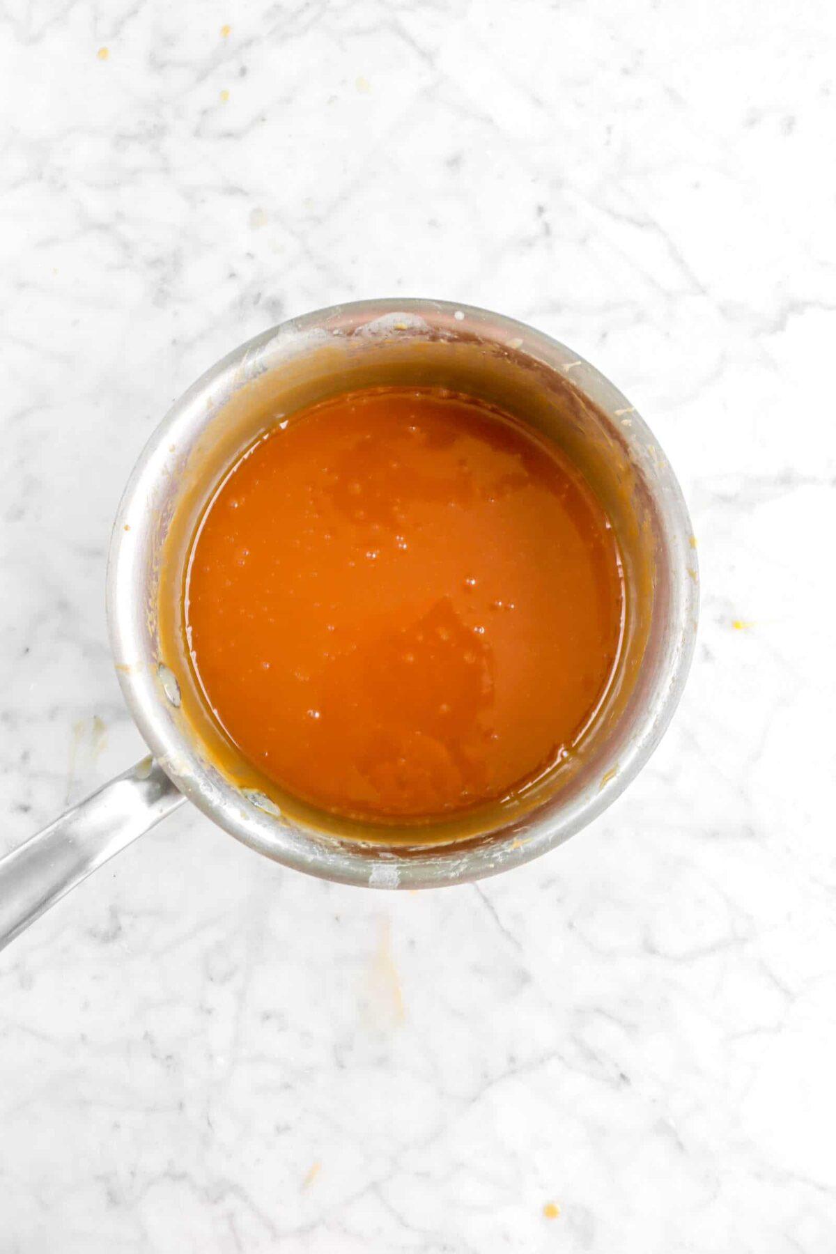 caramel sauce in small pot